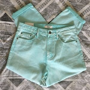 "Forever 21 Mint Long Denim Jeans ""Mom Fit"" Style"